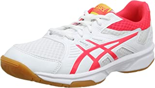 ASICS Unisex Kid's White/Laser Pink Badminton Shoes-6 UK (40 EU) (7 US) (1074A005)