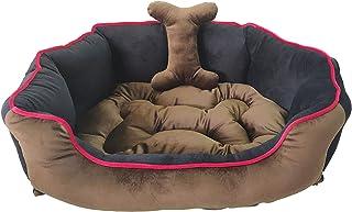 Mellifluous Medium Size Cat and Dog Pet Bed, Brown-Black