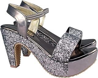 ACTION Synergy Women's Metallic Party Glitter Golden High Heels Signora1 Platform Heels