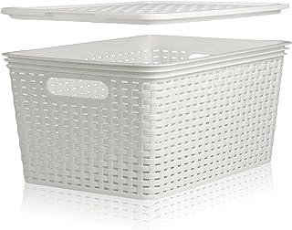 Hausfelder Panier de rangement avec couvercle - Boîte de rangement en forme de panier en rotin (3 x 16 l, blanc)