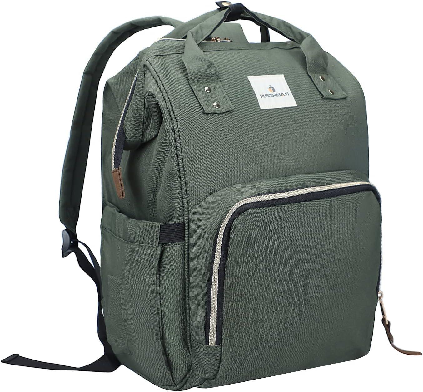 RAMHORN Diaper Bag Backpack Multifunction Waterproof Travel Back Pack for Mom Green