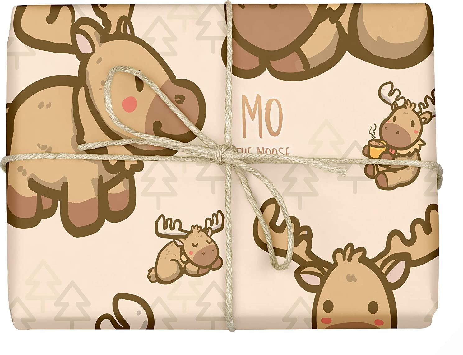 Mo The Moose - Design Gift Wrapping Paper | for Baby Showers, Kids Birthdays, Christmas Gifts | Unique Unisex Print | Wrap A Birthday Parcel & Present | 5 Sheets | 20 x 28 Inches