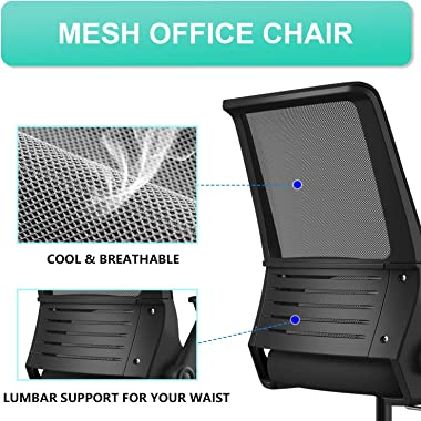 Office Chair, Shuanghu Ergonomic Home Office Desk Chair Mesh Office Chair with Armrests Lumbar Support Height Adjustable Roll