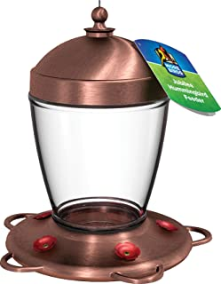 Classic Brands More Birds Brushed Copper and Glass Jubilee Hummingbird Feeder with Five Feeding Stations, 32 Fluid Ounce Capacity