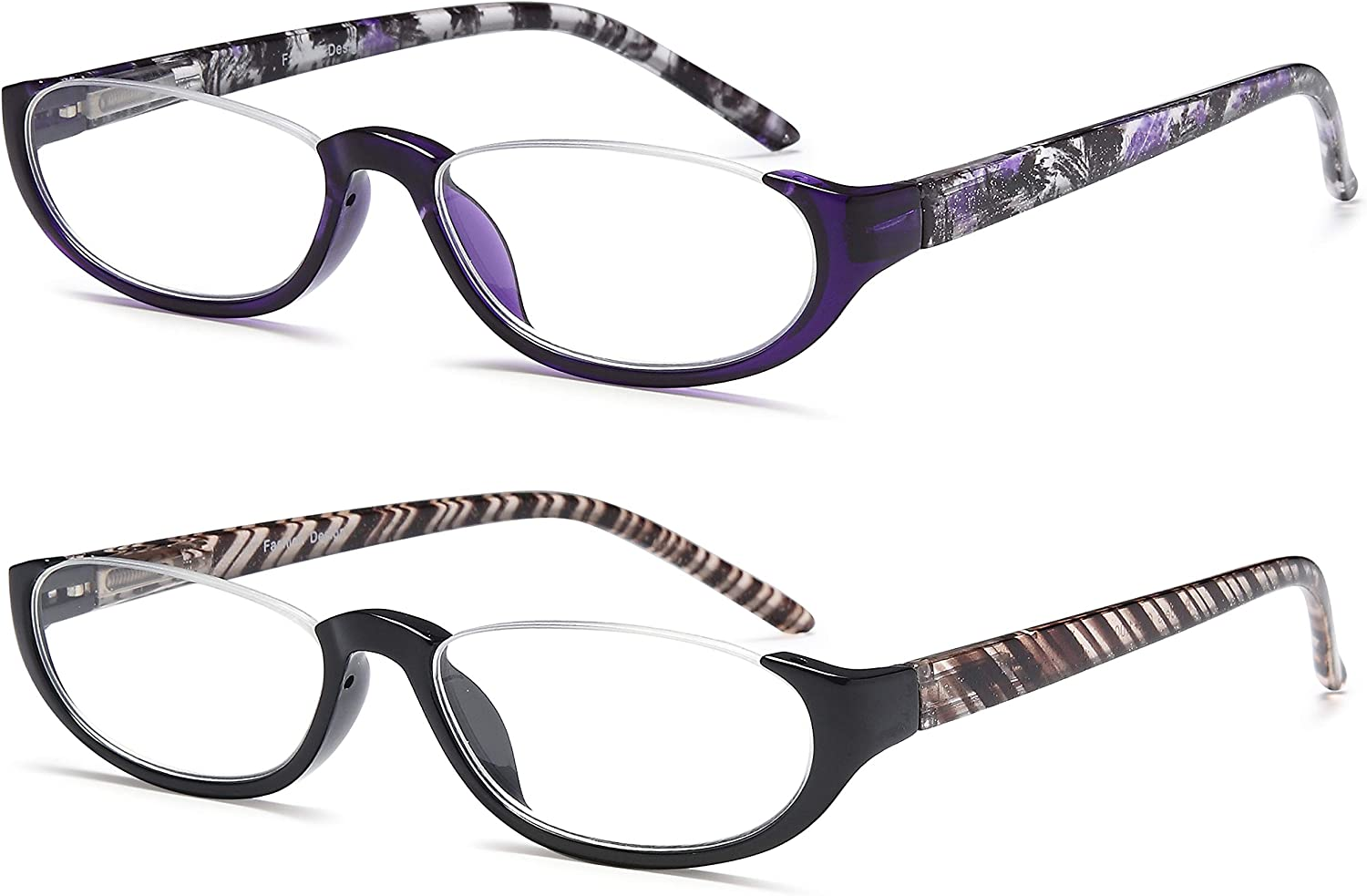 EYEURL Computer Reading Glasses Half Moon for Women 22020 Pack Blue Light  Blocking Readers with Clear Vision Spring Hinge Eyeglasses22020.20 Anti Glare ...