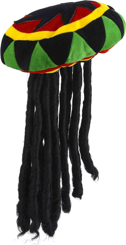 COOLMP – Set di 6 – Berretto Rasta in Velluto con Dreadlock Adulto – Taglia Unica – Cappello da Festa, Cappello, Berretto, Cappello, Copricapo, Accessorio di Travestimento e Costume