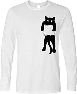 Tim And Ted Funny Cute Cat Long Sleeve Black Kitten in Pocket T-Shirt