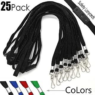 Safety Lanyards Premium Breakaway Black Lanyard Comfortable Neck Straps Lanyards Swivel J Hook for ID Badges 25 Pack