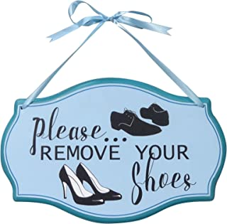 NIKKY HOME 12 x 7 Please Remove Your Shoes Hanging Wood Plaque, Blue