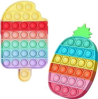 YAJ 2 Pièces Push Pop Bubble Sensory Fidget Toy Anti Stress Silicone Pincez Sensorielle Jouet Pousser Figit Jouet Soulagem...