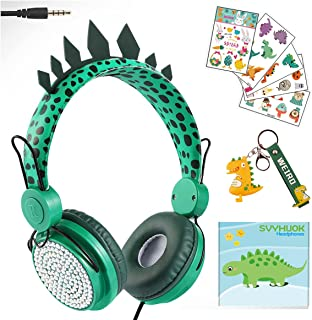 Boys Green Dinosaur Wired Headphones,Cute Kids Game Headset for Girls Teens Tablet Lap (Green) top PC PS4,Over Ear Childre...