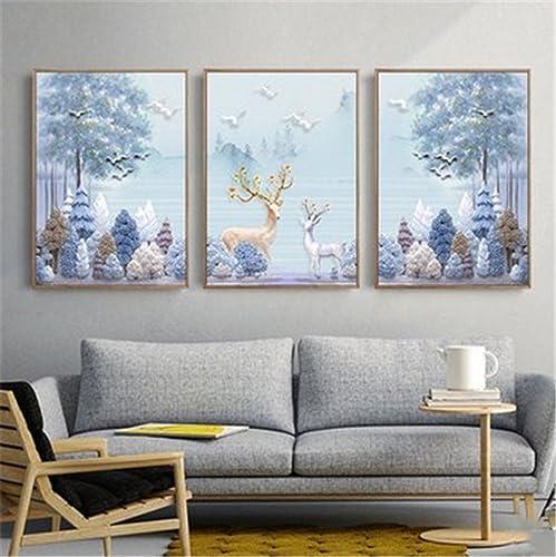 suministro directo de los fabricantes BENJUNSala de de de Estar de Estilo Nórdico Decorativa Pintura sofá Parojo de Fondo tríptico de Moda Elk Pinturas murales (40  60cm  3)  alta calidad