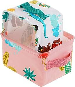 SOGREAT 2-er Pack Faltbox wasserdicht Aufbewahrungsbox kleiner Baby Stoffbox mit 2 Griffen auf beiden seiten in Würfelform