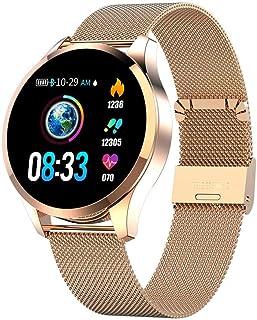 Teabelle Smartwatch Pantalla a Color Mujer Presión Arterial Monitor de Ritmo Cardíaco Podómetro Rastreador de Fitness Reloj Inteligente Correa de Acero Dorada