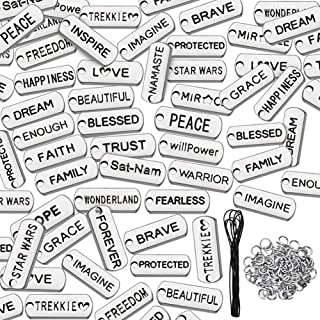 BigOtters Word Charms Pendants, 84PCS Silver Engraved Motivational Charms with 84pcs Split Rings 2 Yard Black Cord for DIY Necklaces Jewelry Making Fashion Encourage Accessories Bracelets Bangles