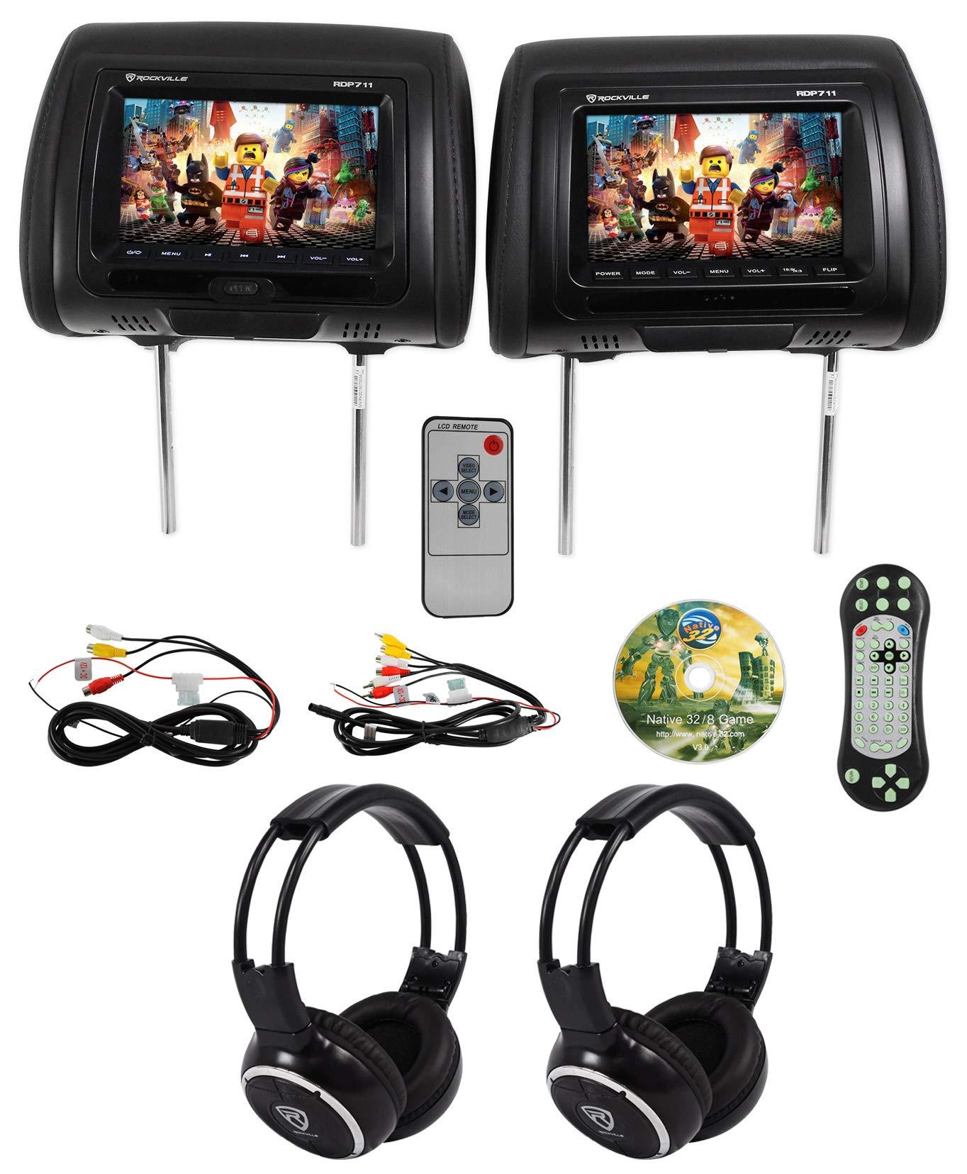 Rockville RDP711 BK Headrest Monitors Headphones