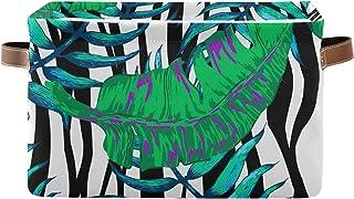 PUXUQU Panier de rangement pliable en forme de feuilles tropicales avec poignées pour placard, étagères, jouets, bureau, c...
