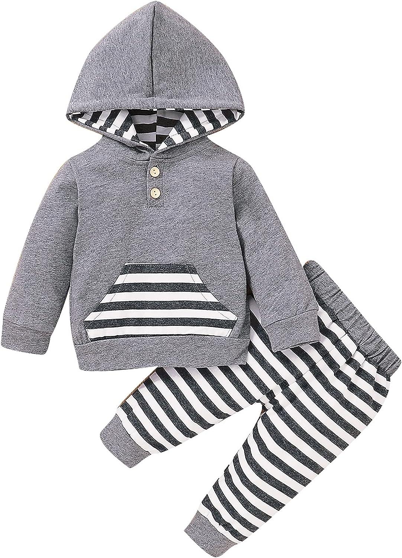 SUDAVIE Baby Boy Clothes Infant Outfit Cute Long Sleeve Hoodie Sweatshirt Pants Set 0-24 Months