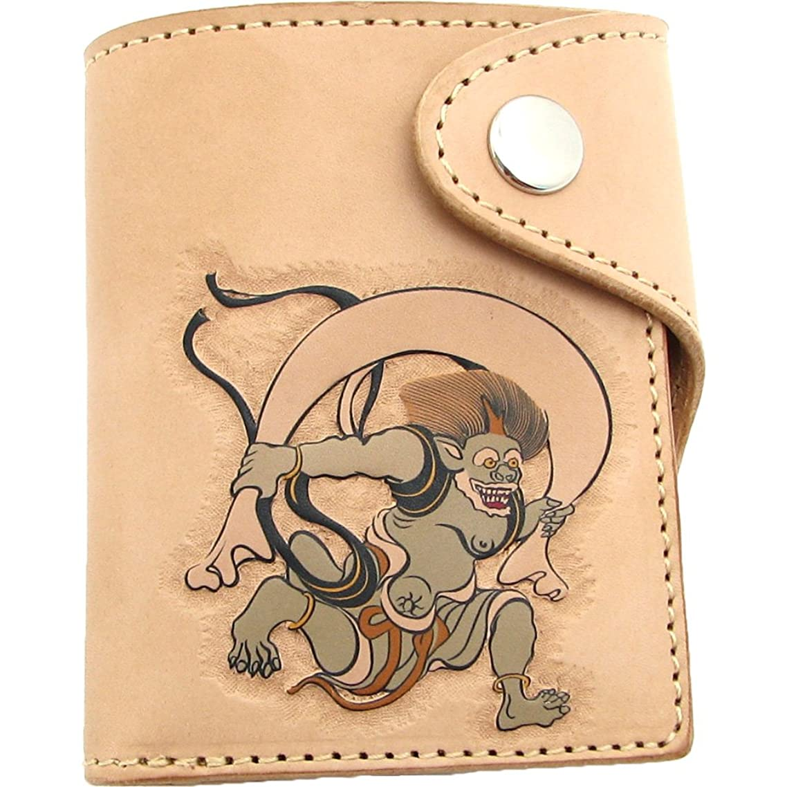 疑い者失むしろ本牛革二つ折り財布和柄ショートウォレット風神レリーフ仕上げ