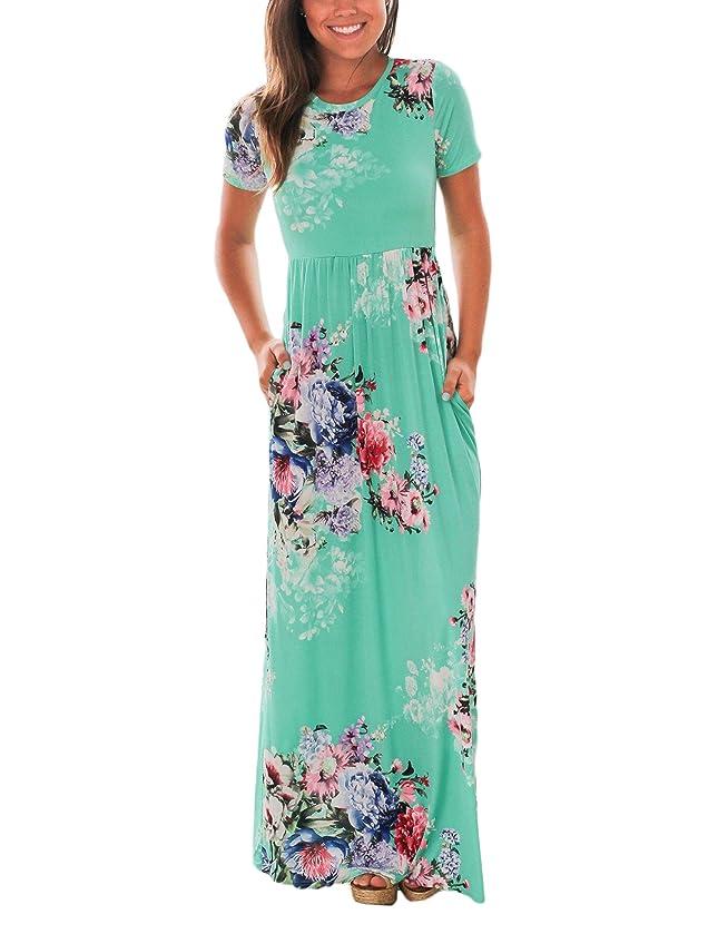 Vemper Floral Print Maxi Dress Short/Long Sleeve Pockets Long Casual Dress