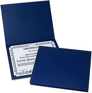 Plain Blue Certificate Folder - Set of 10, 9-1/2
