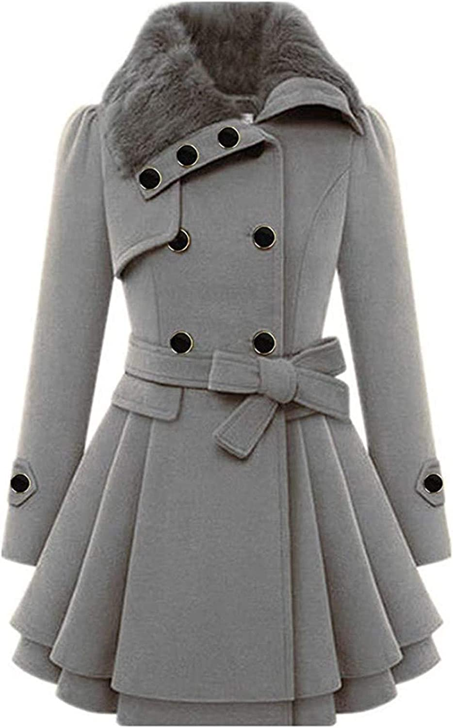 Women's Faux Fur Lapel Double-Breasted Thick Wool Trench Coat Rain Jacket Button Outdoor Windbreaker with Belts