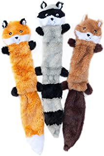 ZippyPaws - Skinny Peltz No Stuffing Squeaky Plush Dog Toy, Fox, Raccoon, and Squirrel