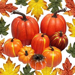 JOLLY SWEETS 38pcs Halloween Artificial Pumpkins Decorations Set, Pumpkins, Maple Leaves for Halloween, Thanksgiving Weddi...