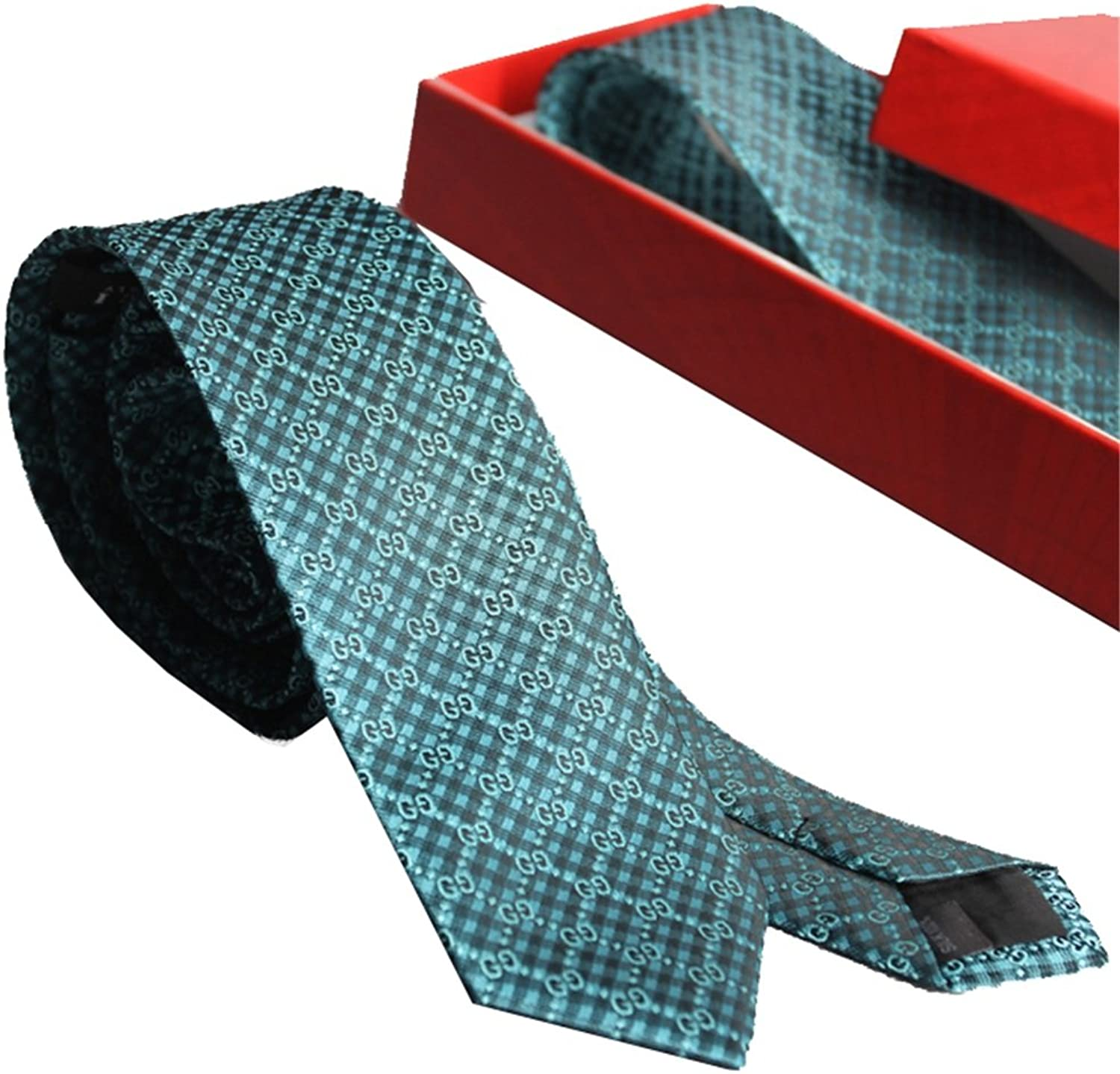 Necktie Men's Tie Plaid with Classic Abstract Alphabet Design Yarn with Retro Craft Jacquard Gift Box Tie