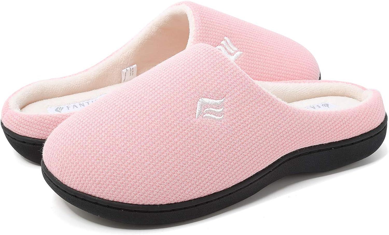 FANTURE Women's Memory Foam Slippers Two-Tone Slip-on Clog Scuff House shoes Indoor & Outdoor-U418WMT019-pink-42.43