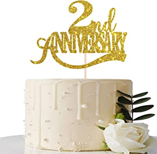 Maicaiffe Gold Glitter 2nd Anniversary Cake Topper - for 2nd Wedding Anniversary / 2nd Anniversary Party / 2nd Birthday Pa...