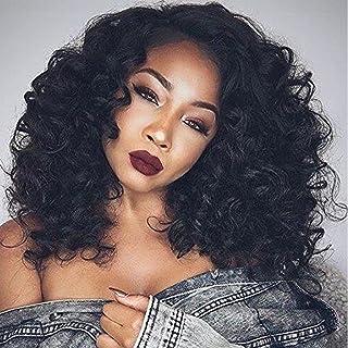 (46cm ) - Synthetic Lace Front Wigs for Women L Part Loose Wave Black Colour 46cm