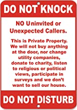 Do Not Knock No Uninvited Or Unexpected Callers Aluminum Metal Sign 9 in x 12 in