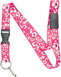 Limeloot Pink Cherry Blossom Premium Lanyard with Breakaway, Release Buckle, and Flat Ring.
