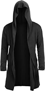 Twinklady Mens Long Sleeve Draped Lightweight Open Front Hoodie Wool Cashmere Cardigan Sweater