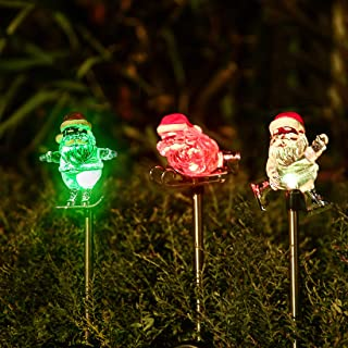 Obell Solar Garden Stake Lights - Set of 3 Christmas Lights Color Changing LED Wireless Solar Lights Outdoor Garden Decor for Fence Yard Pathway Flowerbed Driveway (Santa Claus)