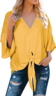 Womens Floral V Neck Tie Knot Front Blouses Bat Wing Short Sleeve Chiffon Tops Shirts