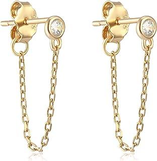 Small Dangle Earrings for Man Sterling Silver Dangle Minimalist Lightweight Chain Earrings for Women