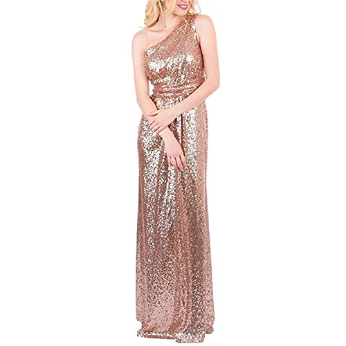 894e97bac4b karever Women s Sequined Long Bridesmaid Dresses One Shoulder Pleat Rose  Gold Wedding Party Gown