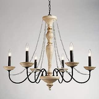 Saint Mossi Vintage Persian White Bronze Farmhouse Chandelier Lighting LED Ceiling Light Fixture Pendant Lamp for Dining Room Bathroom Bedroom Livingroom 6 E12 LED Bulbs Required Height 34 x Width 35