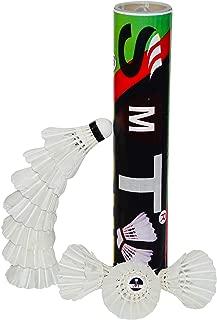 SMT Badminton Feather Shuttlecock Pack of 10 Shuttle (White)