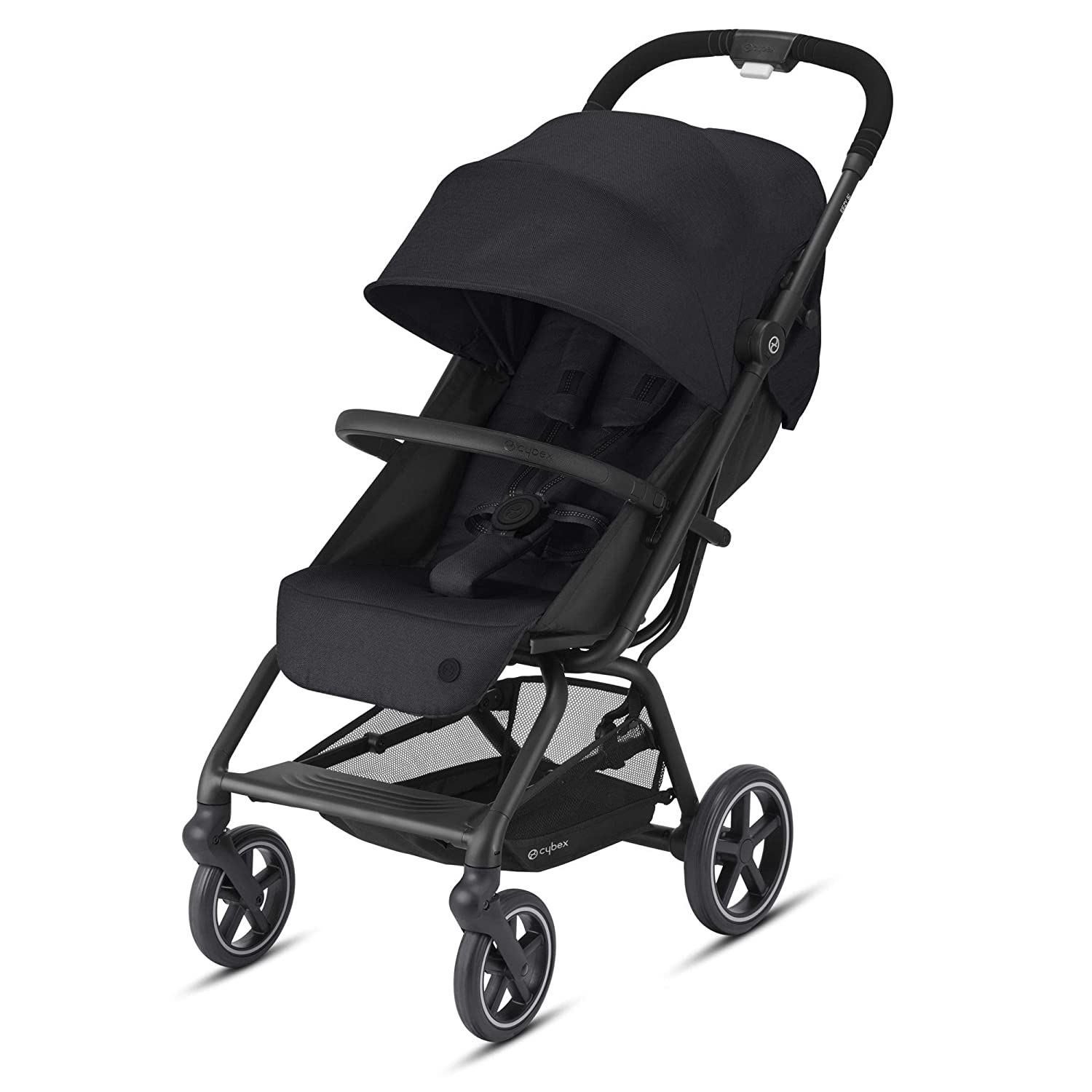 Cybex Eezy S + 2 Lightweight Travel Baby Stroller for 6 Months+, Compatible with Infant Car Seats, Compact Fold, Stands for Storage, All-Terrain Wheels, Deep Black