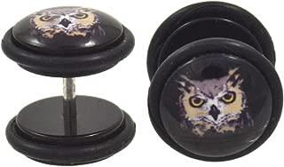 Pair (2) Wicked Owl Fake Plug Earrings Cheater Gauges (00g Look)