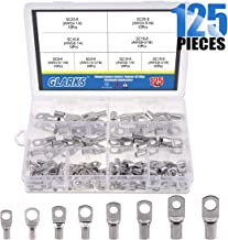 Glarks 125Pcs Marine Grade Heavy Duty Tinned Copper Wire Lugs Battery Cable Ends Eyelets SC Ring Terminal Connectors Assortment Kit