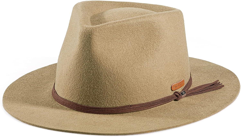 FEMSÉE Fedora Hats Wide Brim Fedora 100% Wool Felt, Wide Brim Fedora for Women and Men Felt Panama Hat Leather Band