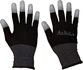 ARNOLA Black Anti Static Gloves Top Fit Fingertip 13G Carbon Fibers PU Coated ESD Safety Work Gloves