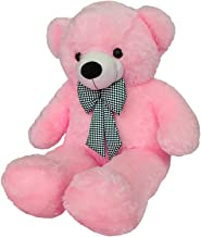 Frantic Teddy Bear with Neck Bow Premium Quality Soft Plush Fabric in Baby Pink Color – 3 Feet