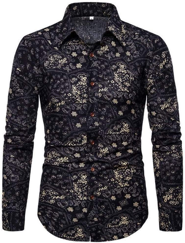 straight fire Shirts New Spring Men Casual Shirts Fashion Long Sleeve Brand Printed Button-Up Formal Business Polka Dot Floral Men Floral Shirt M-5XL Casual Button-Down Shirts (Color : 17, Size : M)