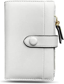 Womens Rfid Small Bifold Leather Wallets,Ladies Trifold Card Wallet Mini Zipper Coin Purse,Compact