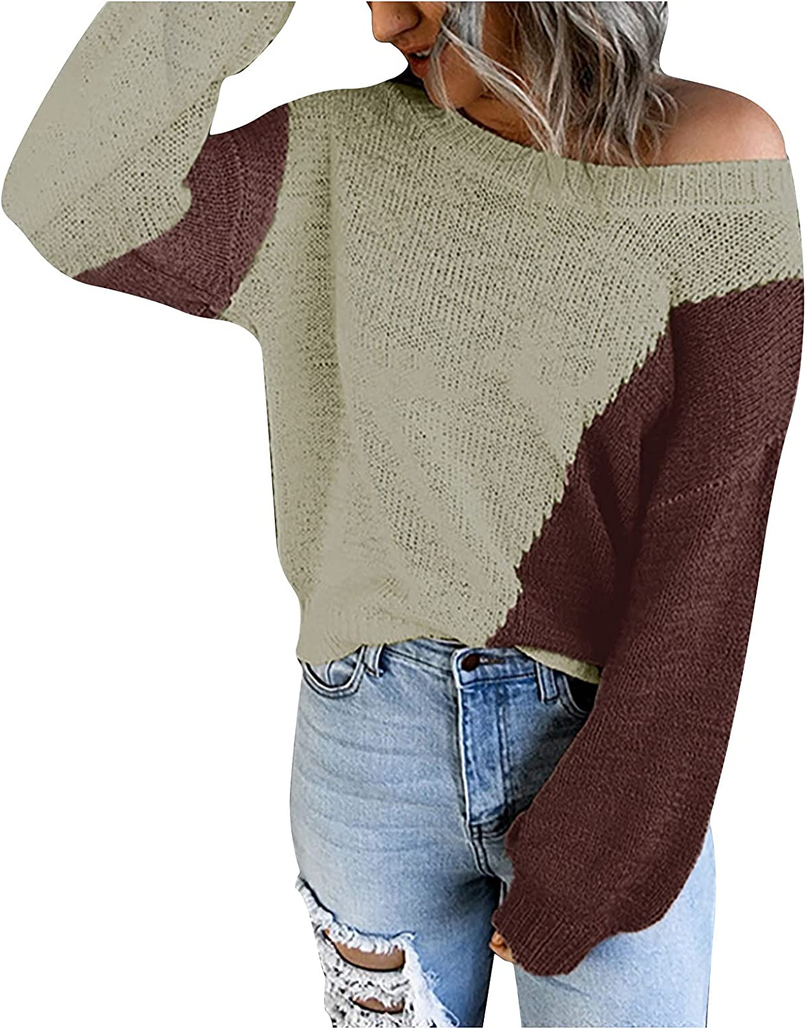 Women's Color Block Stitching Knitted Sweater Pullover Sweatshirt Long Sleeved Round Neck Off Shoulder Sweaters